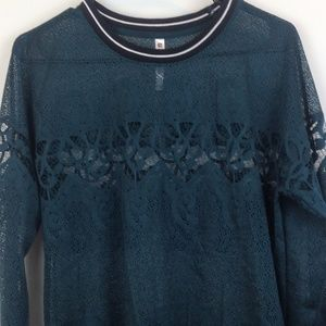 Fabletics Womens Turquoise Sheer Top Small
